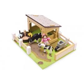 """Игровой набор """"Коровник с животными и фермершей"""" Le Toy Van"""