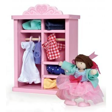 """Игровой набор """"Гардероб с одеждой и куклой"""" LeToy Van"""